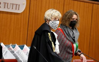 epa09056501 Judge Marina Finiti arrives for the trial for the murder of the Italian Carabinieri paramilitary police officer Mario Cerciello Rega, in Rome, Italy, 06 March 2021. US Gabriel Natale-Hjorth  and Finnegan Lee Elder are accused of slaying the Carabinieri paramilitary police officer, Mario Cerciello Rega, while on vacation in Italy in July 2019.  EPA/ALESSANDRA TARANTINO / POOL