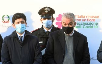 (L-R) Minister of Health, Roberto Speranza, the Extraordinary Commissioner for the Coronavirus emergency, Domenico Arcuri, and the President of Lazio Region, Nicola Zingaretti, during the anti-covid vaccine day at the Spallanzani Hospital where the first drugs were symbolically given to five health workers, Rome, Italy, 27 December 2020. ANSA/RICCARDO ANTIMIANI