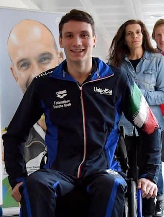 Manuel Bortuzzo arriva al Centro Federale di Ostia per un incontro con la stampa, Roma, 13 marzo 2019.  ANSA/ETTORE FERRARI