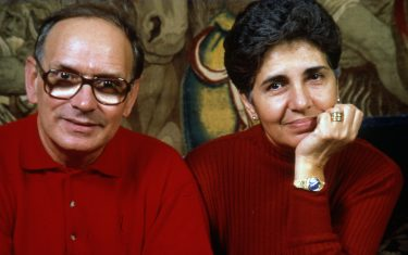 Music composer Ennio Morricone and his wife Maria Morricone Travia, Rome, Italy, 1991. (Photo by Luciano Viti/Getty Images)