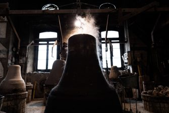 Agnone, Italy - Bells during production process inside the Marinelli Pontificial foundry in Agnone.