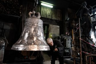 Agnone, Italy - Antonio Delli Carri, bell master, checks the purity of the sound of a bell crafted at the Marinelli Pontificial foundry in Agnone. The sound coming from the Marinelli bells is one of a kind and is one of the many features that make their bells the most famous in the world.