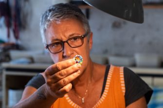 VENICE, ITALY - JULY 17: Gloria Simionato creates, using the tradional techniques of Murano, the so called Murrine on July 17, 2020 in Venice, Italy. After the lockdown for the Covid-19, the tourism in the island of Murano is at a very low level, and a lot activities are suffering and near to the closure. (Photo by Simone Padovani/Awakening/Getty Images)