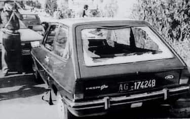 L'auto del giudice Rosario Livatino ucciso dalla mafia il 21 settembre del 1990 nei pressi di Agrigento. ANSA