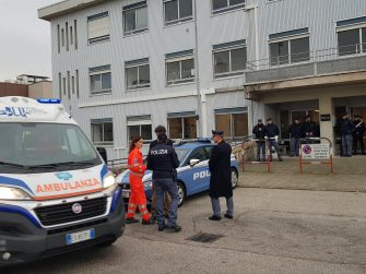 An ambulance is seen in front of the morgue of the hospital in Ancona, central Italy, where the victims have been transported, 08 December 2018. A stampede outside the nightclub 'La Lanterna Azzurra' in Corinaldo, near Ancona, has killed six people and injured more than 100, after someone probably caused a panic with a stinging spray. The incident took place at a packed club hosting a concert by popular Italian rapper Sfera Ebbasta. ANSA/ ANGELO EMMA