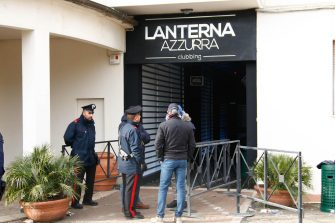 Carabinieri officers stand in front of the disco 'Lanterna Azzurra' in Corinaldo, central Italy, central Italy,  08 December 2018. At least Six people, all but one of them minors, were killed and about 35 others injured in a stampede of panicked concertgoers early Saturday at a disco in a small town on Italy's central Adriatic coast. ANSA/PASQUALE BOVE