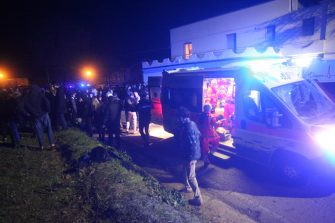 Rescuers assist injured people outside the nightclub 'Lanterna Azzurra' in Corinaldo, near Ancona, central Italy, 08 December 2018. A stampede that occurred overnight outside the nightclub killed six people and injured more than 100, after someone probably caused a panic with a stinging spray. The incident took place at the packed club hosting a concert by popular Italian rapper Sfera Ebbasta. ANSA/ STRINGER