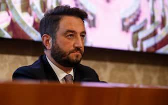 Giancarlo Cancelleri durante la conferenza stampa del Movimento 5 Stelle per presentare un piano di rilancio economico per affrontare la crisi causata dal coronavirus, Roma 5 marzo 2020. ANSA/FABIO FRUSTACI
