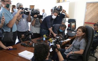 The Chief Prosecutor Grazia Pradella talks during the press conference on Carabinieri arrested, barracks impounded at Piacenza, Italy, 22 July 2020. At least six Carabinieri were arrested Wednesday and a barracks belonging to the paramilitary police impounded in the northern city of Piacenza. Some of the Carabinieri were detained in prison and some were placed under house arrest. They have been charged with drug pushing, extortion and torture, among other offences, sources said. ANSA/Pierpaolo Ferreri
