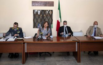 From left: The Carabinbieri commander Antonio Sanapo, the Chief Prosecutor Grazia Pradella the Subsitute Prosecutor Antonio Colonna and Subsitute Prosecutor Matteo Centini  during the press conference on Carabinieri arrested, barracks impounded at Piacenza, Italy,  22 July 2020.  At least six Carabinieri were arrested Wednesday and a barracks belonging to the paramilitary police impounded in the northern city of Piacenza. Some of the Carabinieri were detained in prison and some were placed under house arrest. They have been charged with drug pushing, extortion and torture, among other offences, sources said.ANSA/Pierpaolo Ferreri