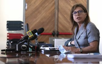 The Chief Prosecutor Grazia Pradella talks during the press conference on Carabinieri arrested, barracks impounded at Piacenza, Italy,  22 July 2020.  At least six Carabinieri were arrested Wednesday and a barracks belonging to the paramilitary police impounded in the northern city of Piacenza. Some of the Carabinieri were detained in prison and some were placed under house arrest. They have been charged with drug pushing, extortion and torture, among other offences, sources said.ANSA/Pierpaolo Ferreri