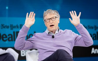 NEW YORK, NEW YORK - NOVEMBER 06: Bill Gates, Co-Chair, Bill & Melinda Gates Foundation speaks onstage at 2019 New York Times Dealbook on November 06, 2019 in New York City. (Photo by Mike Cohen/Getty Images for The New York Times)