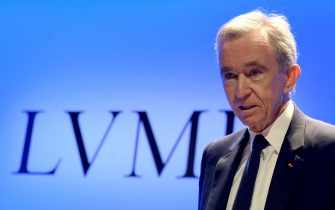 French luxury group LVMH Chairman and Chief Executive Officer Bernard Arnault presents the group's annual results for 2018 at the LVMH headquarters in Paris, on January 29, 2019. (Photo by ERIC PIERMONT / AFP)        (Photo credit should read ERIC PIERMONT/AFP via Getty Images)