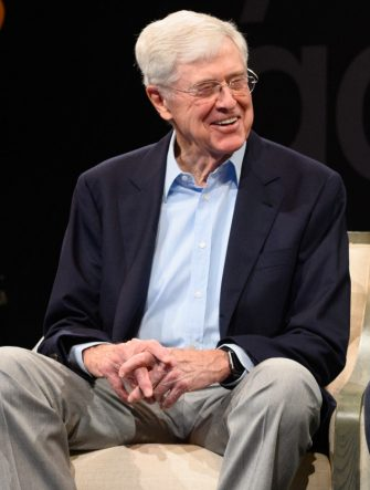 COLORADO SPRINGS, COLORADO - JUNE 29: Founder of Stand Together Charles Koch and CEO and Chairman of Stand Together Brian Hooks prepare for the Stand Together Summit on June 29, 2019 in Colorado Springs, Colorado. (Photo by Daniel Boczarski/Getty Images for Stand Together)