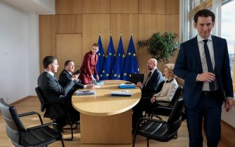 """Heads of self-styled """"frugal"""" nations (LtoR) Netherlands' Prime Minister Mark Rutte, Sweden's Prime Minister Stefan Lofven, Denmark's Prime Minister Mette Frederiksen, President of the European Council Charles Michel, President of the European Commission Ursula von der Leyen and Austria's Chancellor Sebastian Kurz, meet on the sidelines of a special European Council summit in Brussels on February 20, 2020, held to discuss the next long-term budget of the European Union (EU). (Photo by Virginia Mayo / POOL / AFP) (Photo by VIRGINIA MAYO/POOL/AFP via Getty Images)"""