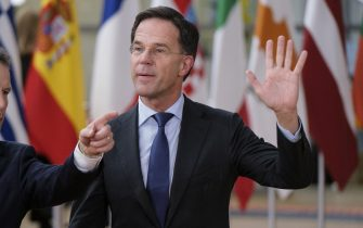 BRUSSELS, BELGIUM - FEBRUARY 20, 2020: Dutch Prime Minister Mark Rutte arrives for a special European Council summit on February 20, 2020 in Brussels, Belgium. European Union leaders will discuss the next long-term budget of the EU. (Photo by Thierry Monasse/Getty Images)