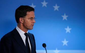 """Netherlands' Prime Minister Mark Rutte addresses the press ending the second day of the special European Council summit in Brussels on February 21, 2020. - Time was called on the summit after two days and a night of talks that failed to narrow stubborn differences between a handful of wealthy """"frugal"""" states and a larger group wanting more money to meet big European ambitions on top of covering a budget shortfall left by Brexit. (Photo by kenzo tribouillard / AFP) (Photo by KENZO TRIBOUILLARD/AFP via Getty Images)"""