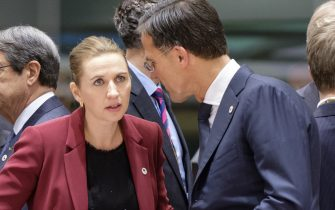 BRUSSELS, BELGIUM - OCTOBER 18: Danish Prime Minister Mette Frederiksen (L) talks with the Dutch Prime Minister Mark Rutte (R) ahead of round table  talks at a EU leaders summit on October 18, 2019, in Brussels, Belgium. Yesterday EU and UK negotiators announced an agreement on the United Kingdom's departure from the European Union. Leaders of the EU countries are also meeting to discuss the EU's long-term budget, the strategic agenda and Climate. (Photo by Thierry Monasse/Getty Images)