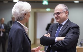 BRUSSELS, BELGIUM - NOVEMBER 7, 2019: President of the European Central Bank (ECB) Christine Lagarde (L) is seen talking with the Italian Minister Economy & Finance Roberto Gualtieri (R) prior the start of a Eurozone Ministers meeting in the Europa, the EU Council headquarter in Brussels on November 7, 2019. Ministers will exchange views on investment in innovation and research as a means to boost productivity and competitiveness in the euro area. The Eurogroup is the monthly and informal meeting of the finance ministers of the Member States of the euro zone, with a view to coordinating their economic policies. (Photo by Thierry Monasse/Getty Images)