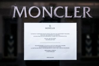 TURIN, ITALY - MARCH 19: General view of Moncler luxury clothing store closed in Via La Grange in Turin during on the Italy Continues Nationwide Lockdown To Control Coronavirus Pandemic on March 19, 2020 in Turin, Italy. The Italian government continues to enforce the nationwide lockdown measures to control the spread of COVID-19. (Photo by Stefano Guidi/Getty Images)