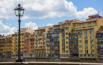 FLORENCE, ITALY - JUNE 16: Traditional houses along River Arno near Ponte Veccio on June 16, 2015 in Florence, Italy. (Photo by EyesWideOpen/Getty Images)