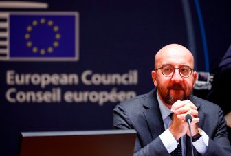 President of the European Council Charles Michel looks on as he attends an EU summit at the European Council building in Brussels, on July 18, 2020, as the leaders of the European Union hold their first face-to-face summit over a post-virus economic rescue plan. - The EU has been plunged into a historic economic crunch by the coronavirus crisis, and EU officials have drawn up plans for a huge stimulus package to lead their countries out of lockdown. (Photo by FRANCOIS LENOIR / POOL / AFP) (Photo by FRANCOIS LENOIR/POOL/AFP via Getty Images)