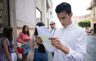 """TURIN, ITALY - JULY 16: A boy tries out a script to be played during the casting tests during of Casting of the new film """"Viaggio a sorpresa"""" directed by Ronn Moss on July 16, 2020 in Turin, Italy. Casting of the new film """"Viaggio a sorpresa"""" directed by Ronn Moss (ex Ridge of """"Beautiful"""" tv soap) which will be shot from September in Puglia. (Photo by Stefano Guidi/Getty Images)"""