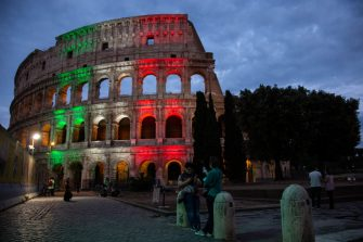 ROME, ITALY - MAY 31: Director of Colosseum archaeological park Alfonsina Russo attends the projection of the italian flag on the Colosseum's facade on May 31, 2020 in Rome, Italy. Many Italian businesses have been allowed to reopen, after more than two months of a nationwide lockdown meant to curb the spread of Covid-19. (Photo by Ernesto Ruscio/Getty Images)