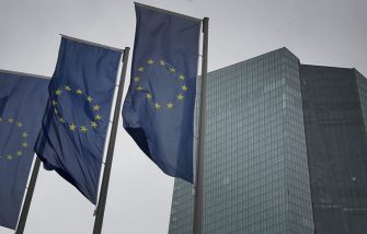 Flags of the European Union flutter in front of the headquarters of the European Central Bank (ECB) in Frankfurt am Main, western Germany, on March 12, 2020. - The ECB's governing council left its key interest rates unchanged but unveiled fresh stimulus to keep liquidity flowing in the face of the worsening coronavirus crisis, joining efforts by central banks around the world. (Photo by Daniel ROLAND / AFP) (Photo by DANIEL ROLAND/AFP via Getty Images)