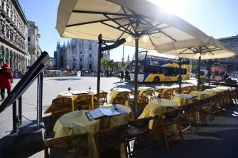 This picture taken on February 27, 2020, shows an empty restaurant in Piazza del Duomo in central Milan. - Italy on Thursday urged tourists spooked by the coronavirus not to stay away, but efforts to reassure the world it was managing the outbreak were overshadowed by confusion over case numbers. (Photo by Miguel MEDINA / AFP) (Photo by MIGUEL MEDINA/AFP via Getty Images)