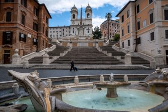 ROME, ITALY - APRIL 23: A general view of Spanish Square area (Piazza di Spagna) and Via dei Condotti empty of tourists during the Coronavirus (COVID-19) pandemic, on April 23, 2020 in Rome, Italy. The Italian government continues to enforce the nationwide lockdown measures to control the spread of COVID-19, even if some businesses categories are slowly reopening. The Coronavirus (COVID-19) pandemic has spread to many countries across the world, claiming over 170,000 lives and infecting over 2.5 million people.(Photo by Antonio Masiello/Getty Images)