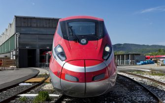 23 Apr 2014 - Construction site of Frecciarossa 1000. It is the new high-speed train of Trenitalia, the state-run company in charge of the railway system. The new Frecciarossa (Red Arrow) will reach a top speed of 380km/h and will link Milano to Rome in less than two and half hours. The model ETR 1000 is designed by Bombardier and built by Ansaldo Breda. (Photo by Alessandro Rota/Getty Images)