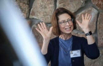 SUN VALLEY, ID - JULY 9: Abigail Johnson, chief executive officer at Fidelity Investments, arrives at the annual Allen & Company Sun Valley Conference, July 9, 2019 in Sun Valley, Idaho. Every July, some of the world's most wealthy and powerful businesspeople from the media, finance, and technology spheres converge at the Sun Valley Resort for the exclusive weeklong conference. (Photo by Drew Angerer/Getty Images)