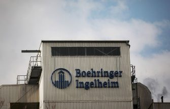 """(FILES) A picture taken on May 7, 2012 shows the lettering """"Boehringer Ingelheim"""" on a building of the pharmaceutical company in Ingelheim, western Germany. Boehringer Ingelheim plans to cut 1000 jobs in Germany, according to German media reports on September 17, 2014. AFP PHOTO / DPA / FREDRIK VON ERICHSEN +++ GERMANY OUT        (Photo credit should read FREDRIK VON ERICHSEN/DPA/AFP via Getty Images)"""