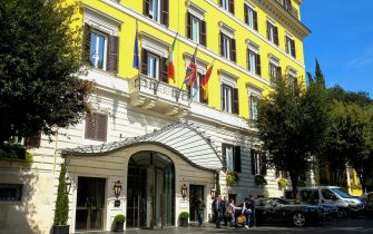 A general view shows the Hotel Eden, which belongs to luxury hotel operator Dorchester Collection, owned by the Brunei Investment Agency (BIA), on April 1, 2019 in Rome. - US actor George Clooney, and a growing list of politicians and celebrities including singer Elton John, has called for a boycott of nine Brunei-owned hotels over the sultanate's new death-penalty laws for gay sex and adultery. The nine hotels mentioned by Clooney are located in Britain, France, Italy and the United States, including Rome's Hotel Eden. (Photo by Andreas SOLARO / AFP)        (Photo credit should read ANDREAS SOLARO/AFP via Getty Images)