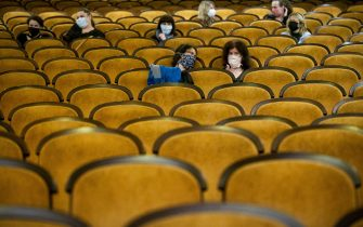 PRAGUE, CZECH REPUBLIC - MAY 11: Customers wearing protective masks sit apart in observance of social distancing measures inside a movie theater as the Czech government lifted more restrictions allowing cinemas to re-open on May 11, 2020, in Prague, Czech Republic. The Czech government has begun further easing the restrictive measures to slow down the spread of the pandemic COVID-19 disease during the lockdown. (Photo by Gabriel Kuchta/Getty Images)