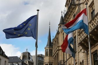 LUXEMBOURG - OCTOBER 12: Flags fly in front of the Palais Grand-Ducale as Luxembourg prepares for its Royal Wedding, on October 12, 2012 in Luxembourg. Guillaume, Hereditary Grand Duke of Luxembourg will marry Belgian Countess Stephanie de Lannoy on October 20.  (Photo by Hannelore Foerster/Getty Images)