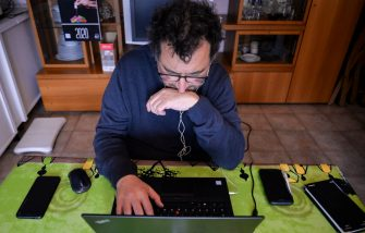 TURIN, ITALY - MARCH 23: A man works from home via smart working during the nationwide lockdown to control the coronavirus spread on March 23, 2020 in Turin, Italy. The Italian government continues to enforce the nationwide lockdown measures to control the spread of COVID-19. (Photo by Diego Puletto/Getty Images)