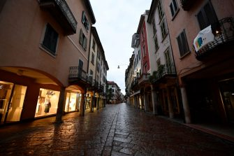 VARESE, ITALY - APRIL 28:  Shopping streets are deserted in the city centre of Vernise due to corona restrictions on April 28, 2020 in Varese, Italy. Italy will remain on lockdown to stem the transmission of the Coronavirus (Covid-19), slowly easing restrictions. (Photo by Mattia Ozbot/Soccrates Images/Getty Images)