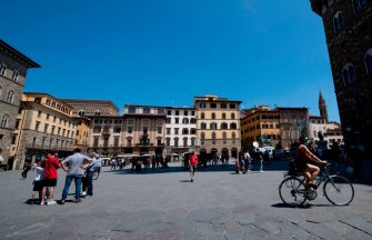 A general view shows the Piazza della Signoria in Florence on June 2, 2020, on the eve of the reopening of the Uffizi Gallery Museum to the public, as the country eases its lockdown aimed at curbing the spread of the COVID-19 infection, caused by the novel coronavirus. (Photo by Tiziana FABI / AFP) (Photo by TIZIANA FABI/AFP via Getty Images)