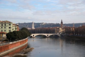 VERONA, ITALY - JANUARY 05:  The Adige River is seen running through Verona on January 5, 2018 in Verona, Italy.  (Photo by Alex Livesey - Danehouse/Getty Images)