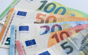 DORTMUND, GERMANY - APRIL 10: (BILD ZEITUNG OUT) In this photo illustration a 100 Euro note, a 50 Euro note, a 20 Euro note, a 10 Euro note and a 5 Euro note are spread out like a fan on a table on April 10, 2020 in Dortmund, Germany. (Photo by Alex Gottschalk/DeFodi Images via Getty Images)