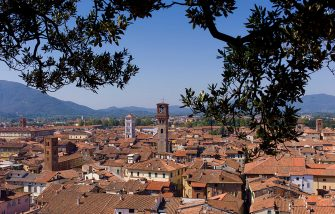 ITALY - SEPTEMBER 13:  View from Torre Guinigi tower showing L to R Palazzo Ducale, Chiesa di San Cristoforo, Chiesa di San Michele, Torre Del Ore, Lucca, Italy  (Photo by Tim Graham/Getty Images)