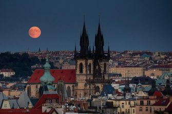 PRAGUE, CZECH REPUBLIC - JULY 16: Full Moonrise over the old town and Tyn church on July 16, 2019 in Prague, Czech Republic. (Photo by Oleg Nikishin/Getty Images)
