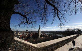 Catholic church of Saint Martin peaks out of the panorama of the old town in Bratislava on March 1, 2010. AFP PHOTO/JOE KLAMAR        (Photo credit should read JOE KLAMAR/AFP via Getty Images)