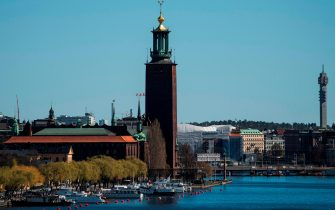 A general view of Stockholm's city hall is taken on April 21, 2020, during the new coronavirus COVID-19 pandemic. (Photo by Jonathan NACKSTRAND / AFP) (Photo by JONATHAN NACKSTRAND/AFP via Getty Images)