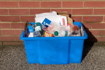 Recycling box on house doorstep, England, UK. (Photo by BuildPix/Construction Photography/Avalon/Getty Images)