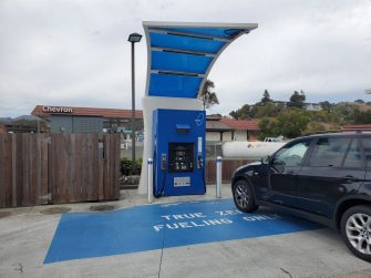 Pump with logos is visible at True Zero hydrogen fuel cell filling station in Marin County, Mill Valley, California, August 16, 2020. (Photo by Smith Collection/Gado/Getty Images)