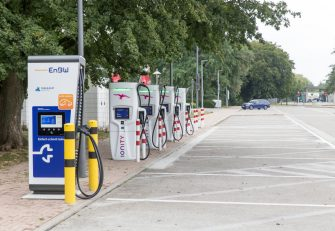 MAHLBERG, GERMANY - JULY 16: An unused charging station for electric cars at a petrol station on a German highway in the south of Germany during the coronavirus pandemic on July 16, 2020 near Mahlberg, Germany. (Photo by Christian Ender/Getty Images)