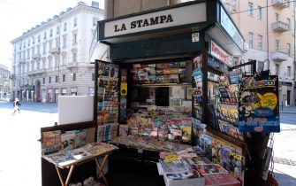 L'edicola invia Pietro Micca messa in vendita ma senza aver trovato nessun acquirente interessato, Torino, 7 Luglio 2020.  ANSA/ ALESSANDRO DI MARCO